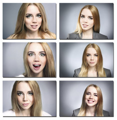 Collage of photos with emotional young woman