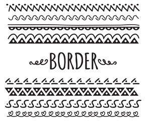 set of decorative hand drawn border