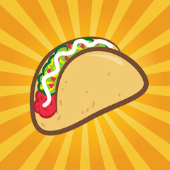 taco with yellow burst background