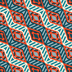 Red and blue diagonal stripped african geometric pattern
