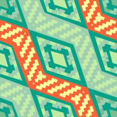 Turquoise green diagonal african geometric pattern
