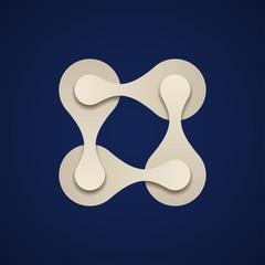 vector teamwork square chain paper emblem