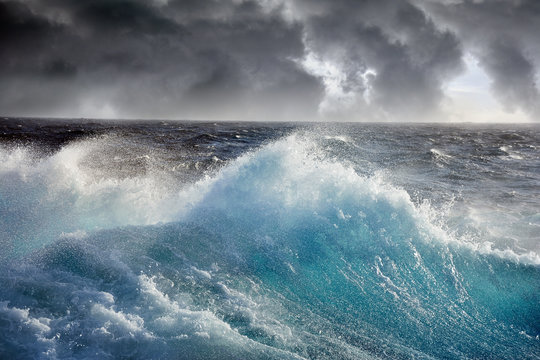 sea wave on the dark cloudes  background