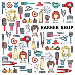 Cute illustration with hand drawn symbols of barber shop