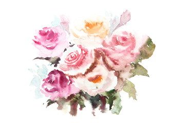 Beautiful roses watercolor painting