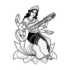 indian goddess Sarasvati
