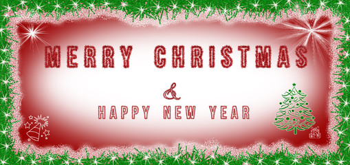 Merry Christmas & Happy New Year text written on red and white background with Christmas decoration around. Christmas card, banner with copy space.