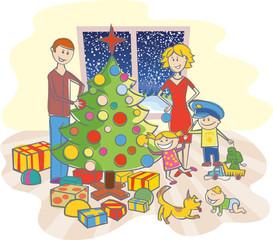 happy family dressing up the christmas tree