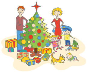 happy family dressing up the christmas tree isolated