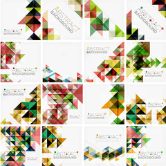 Set of triangle geometric abstract backgrounds. Universal business or technology templates