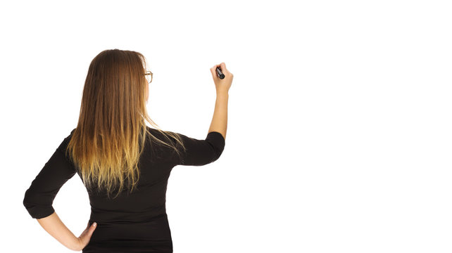 Girl holds a marker in a hand
