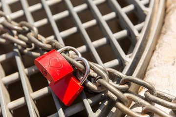 Love locks on the chain