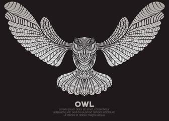 Decorative Vector Owl for design.