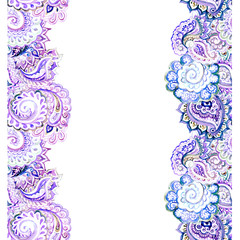 Seamless eastern frame strip for blank in violet colors