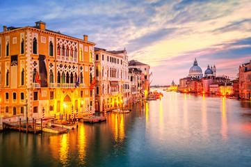 The Grand Canal and basilica Santa Maria della Salute on sunrise