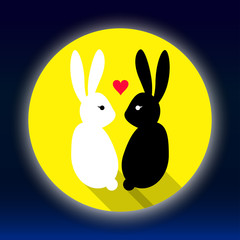 Rabbits lover on the moon vector illustration
