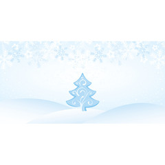 Christmas Blue Landscape with Snowflakes and Tree