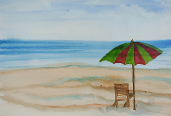 Summer beach watercolor painting