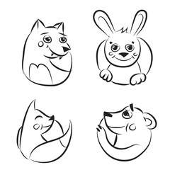 Black and white cartoon forest animals icons set.