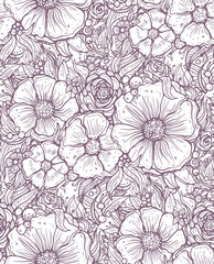 print, seamless pattern with flowers, lilac graphic bouquet, floral pattern outline, vector illustration