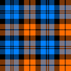 orange and blue tartan seamless pattern