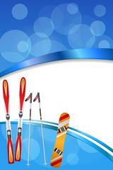 Background abstract blue ski snowboard red orange winter sport ribbon vertical frame illustration vector