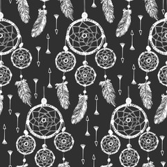 Hand-drawn with ink dreamcatcher with feathers, arrows. Seamless pattern. Ethnic illustration, tribal, American Indians traditional symbol.