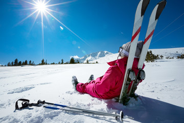 Garden Poster Winter sports Skier relaxing at sunny day on winter season