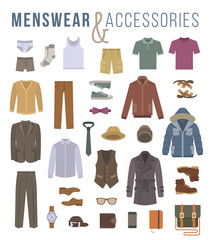 Men fashion clothing and accessories flat vector icons. Objects of male outfit clothes, underwear, shoes and every day essentials for any season. Modern urban casual style elements for man