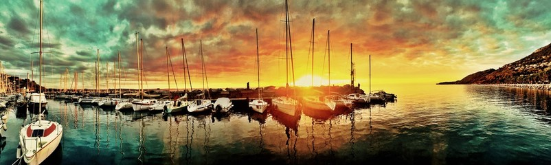 Awesome Sunset at the harbor
