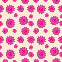 Vector seamless pattern with flower elements over light background