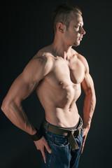 Muscular model posing
