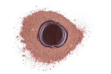 Schokolade Stempel über Kakaopulver