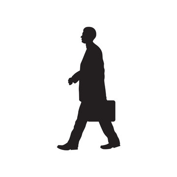 Silhouette of the person with a briefcase.