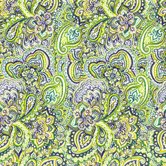 Abstract green ornamental pattern of indian background