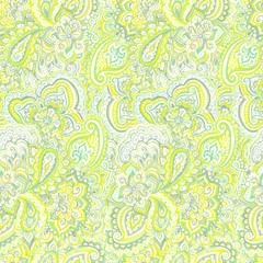 Delicate green-yellow pattern with traditional eastern ornament