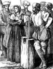 An engraved vintage illustration of the execution of the English queen Lady Jane Grey from a Victorian book dated 1897 that is no longer in copyright