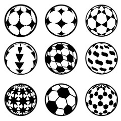set of football and soccer balls