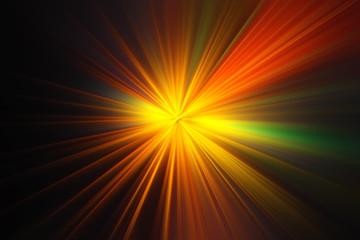 Esplosione di luce gialla su fondo nero