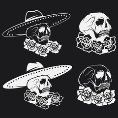 Day of The Dead Skull with flowers and sombrero, dia de los muer