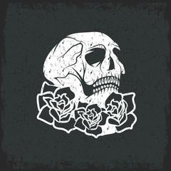 Day of The Dead Skull with flowers , dia de los muertos