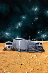 An outpost on a barren world - Elements of this image furnished by NASA.