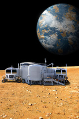 An outpost on the barren moon of an alien world - Elements of this image furnished by NASA.