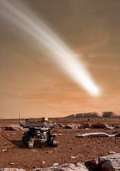 Fototapete - The Comet C/2013 A1 appears over the Martian landscape with a rover in the foreground - Elements of this image furnished by NASA.