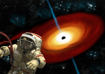Wall Mural - A cosmonaut floats near a black hole. - Elements of this image furnished by NASA.