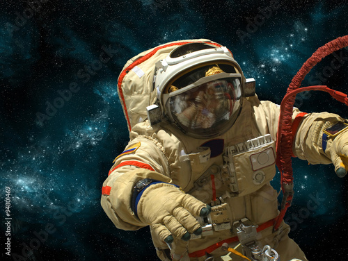 Wall mural A cosmonaut floats in deep space - Elements of this image furnished by NASA.