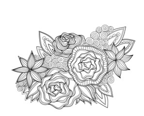 Doodle art flowers. Zentangle style floral pattern. Hand drawn herbal design elements.