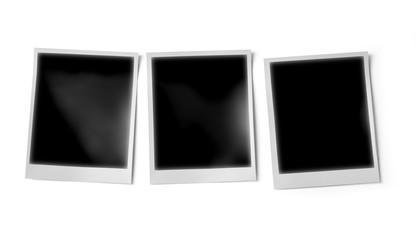 Three blank photo frame