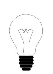 Light bulb black white icon