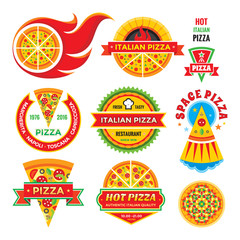 Pizza - vector badges set. Pizza - vector labels collection. Pizza - vector logos set. Pizza - fast food vector illustrations. Design element.